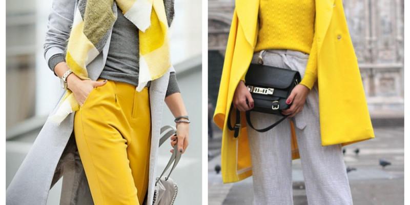 Серый и желтый – два главных цвета 2021 года, сочетания в одежде