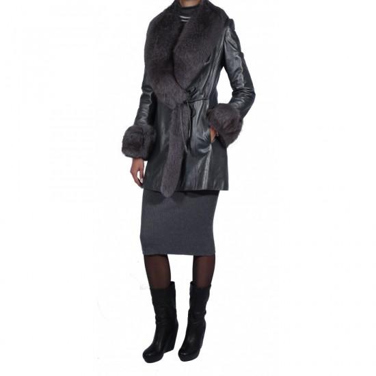 Куртка Jean Jacque кожаная с мехом