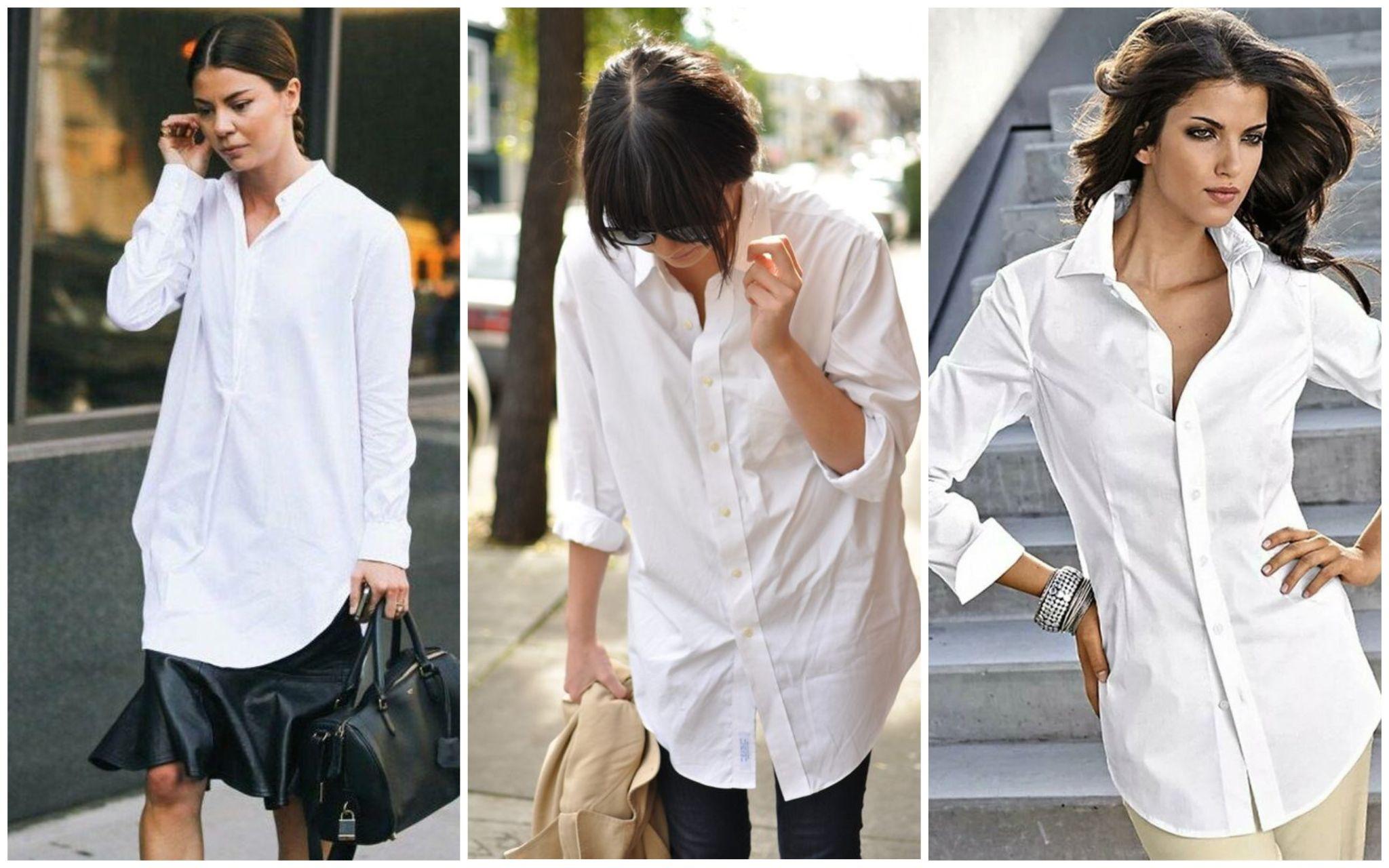 Белая рубашка под свитер