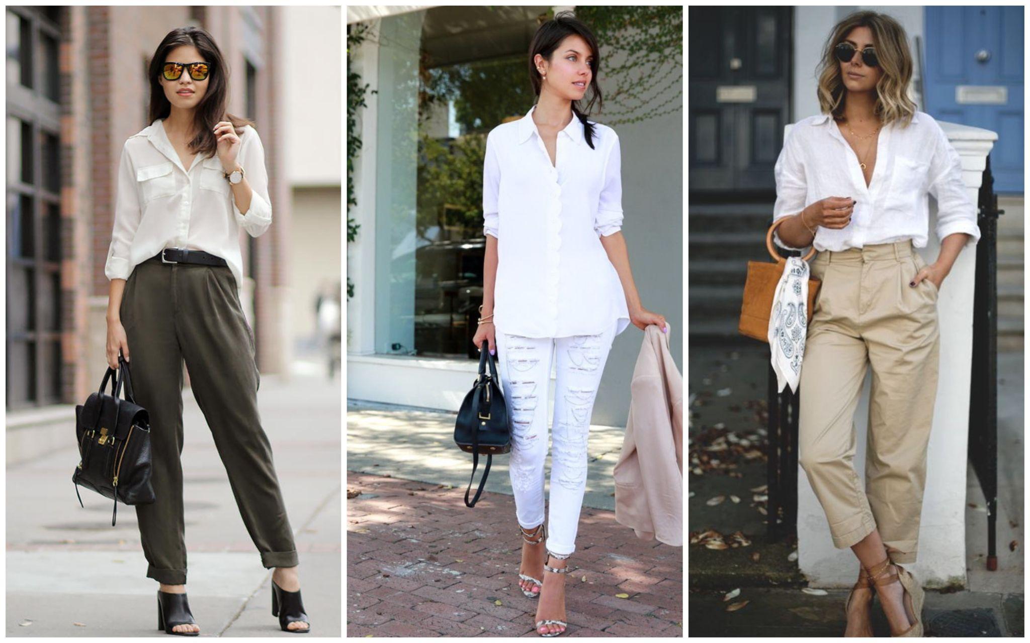 Заправленные рукава у белой рубашки