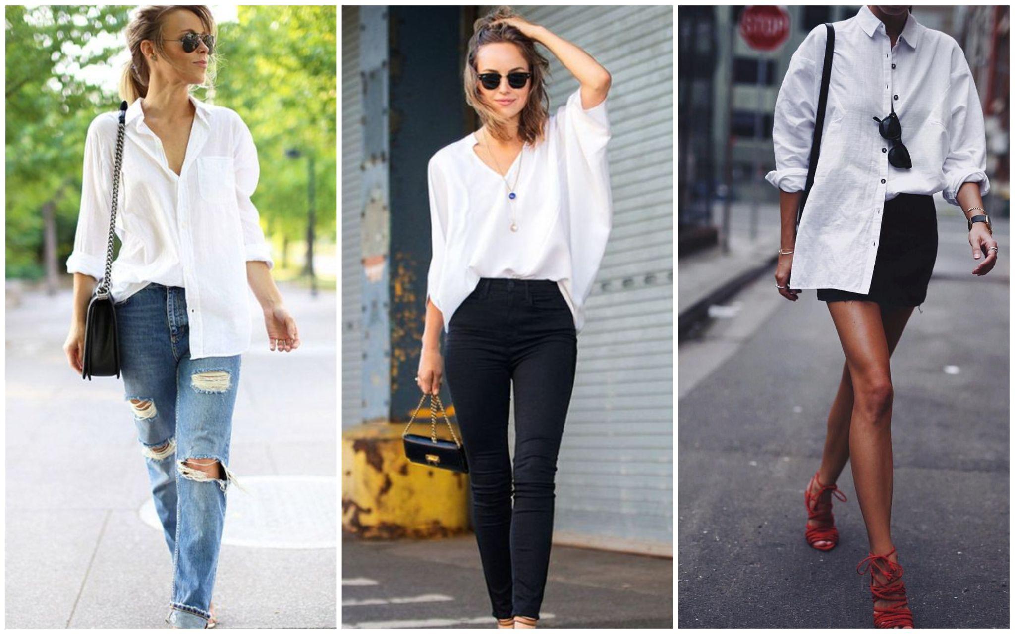 Частично заправленная белая рубашка