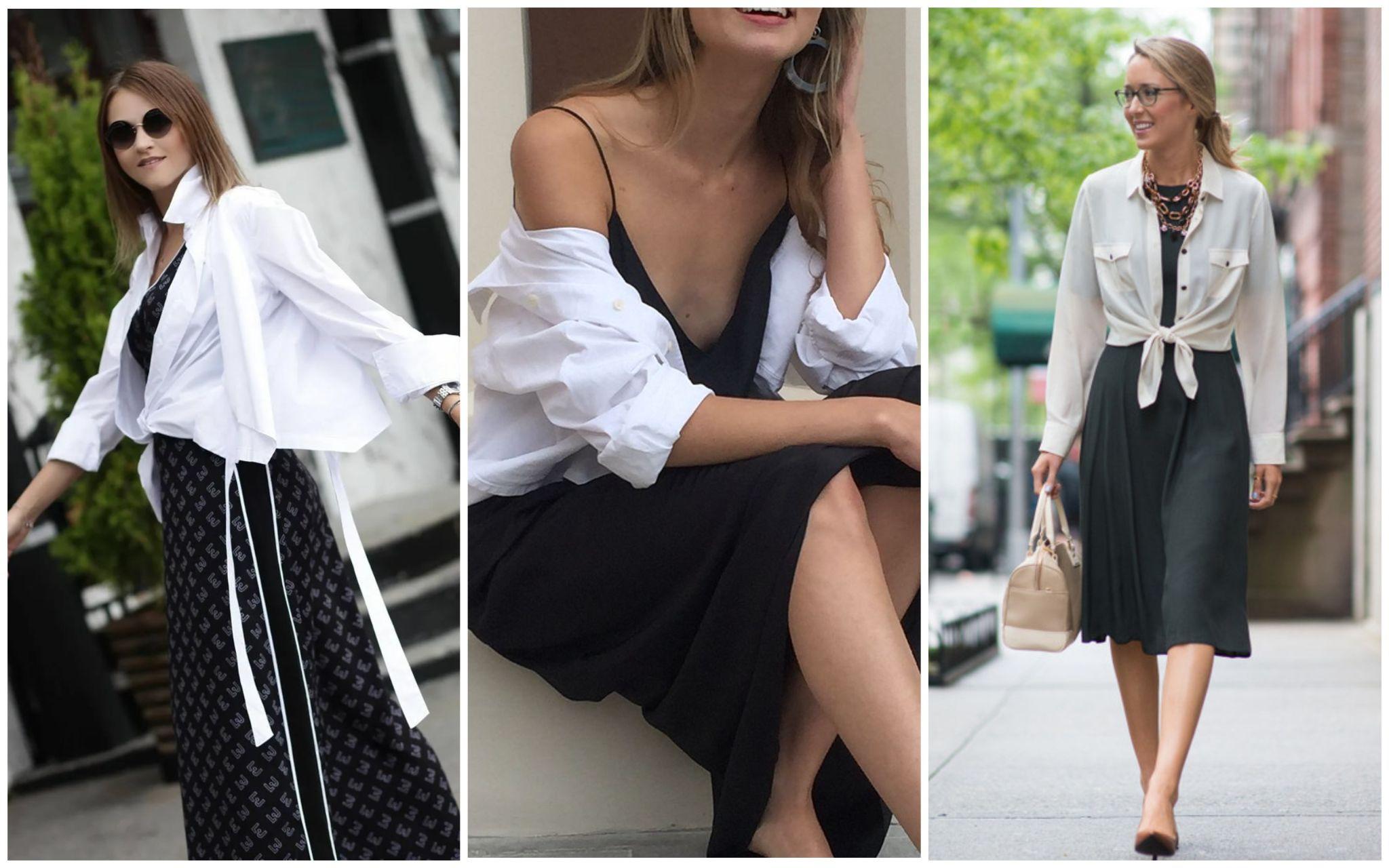 Белая рубашка с платьем