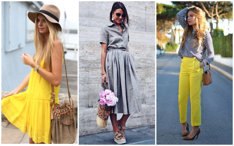 Желтые и серые оттенки в одежде