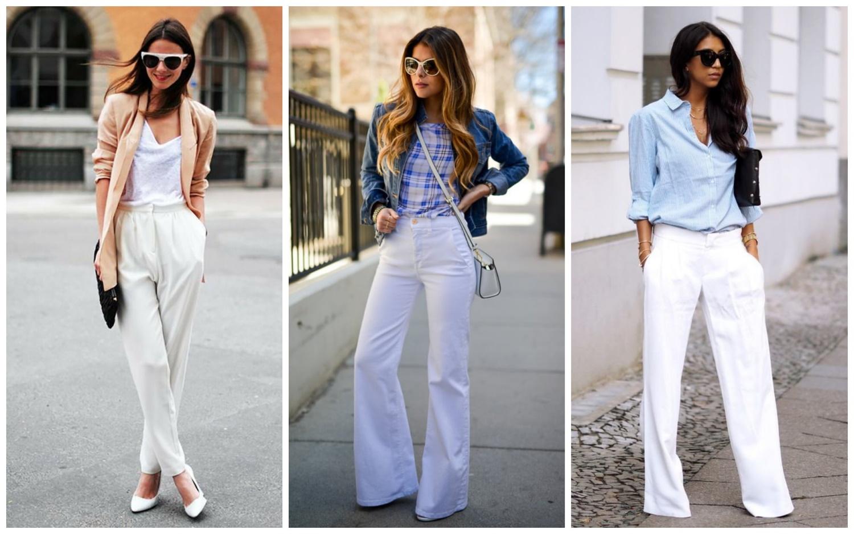 Белые свободные брюки