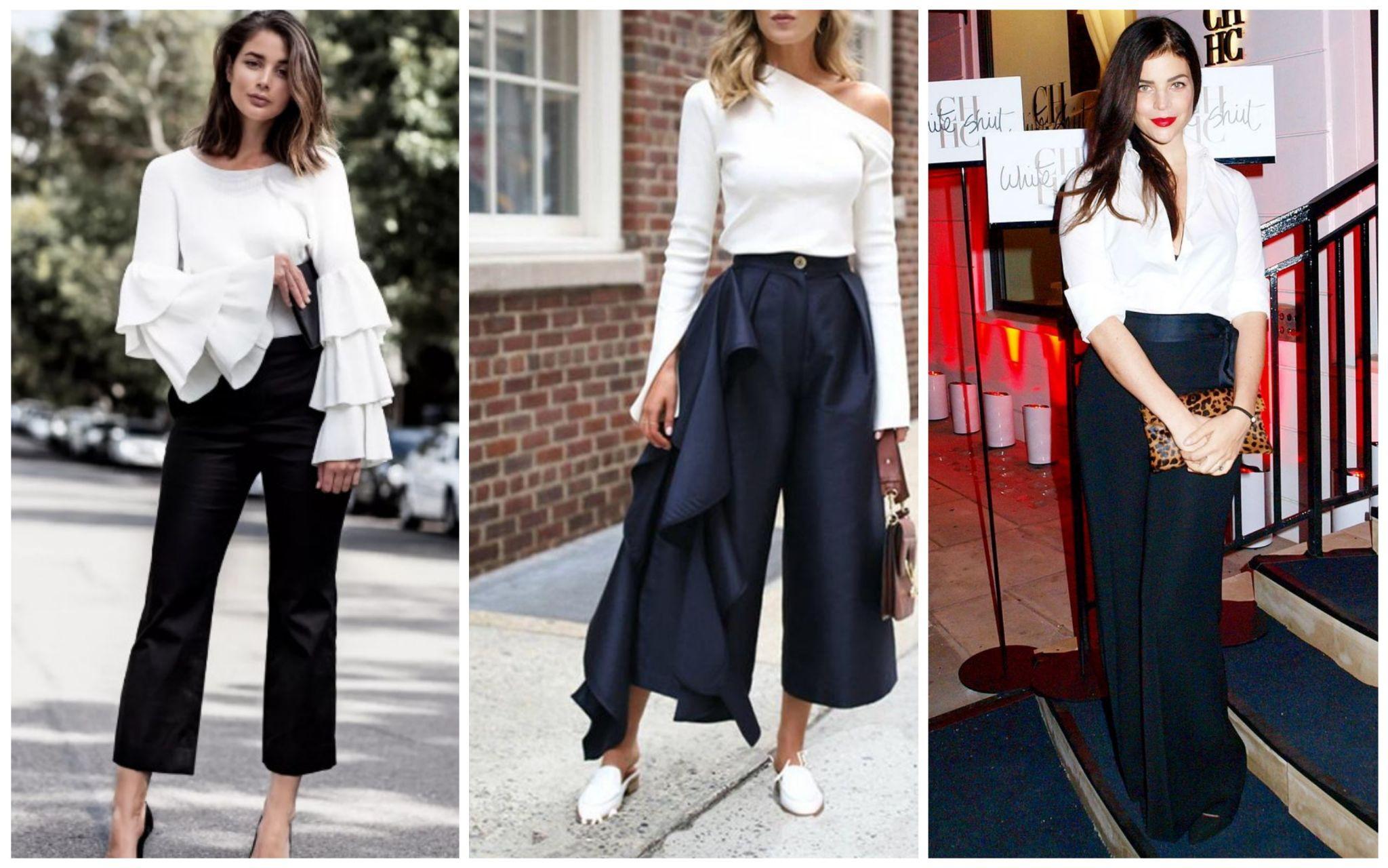 Белые блузки с широкими брюками