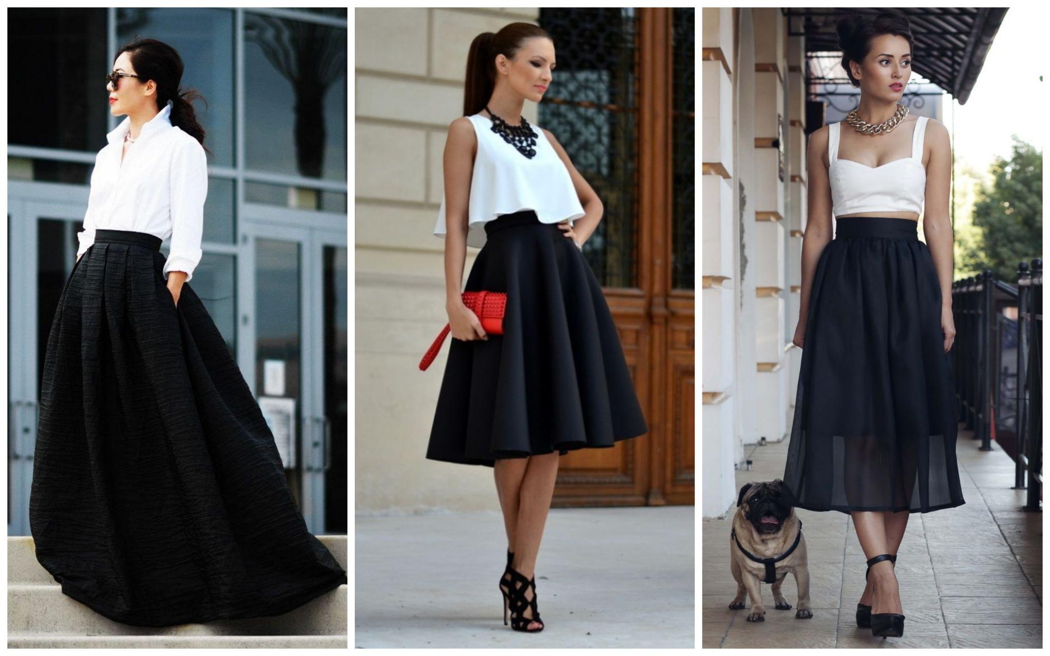 белоснежные рубашки с черными юбками