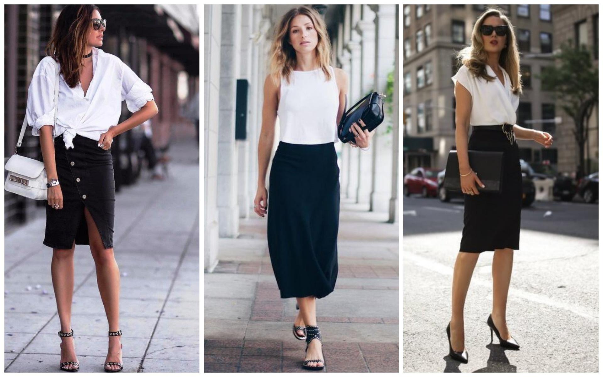 белые блузки с черной юбкой