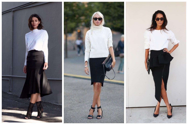 свободные свитер или белая блузка с юбкой с запахом