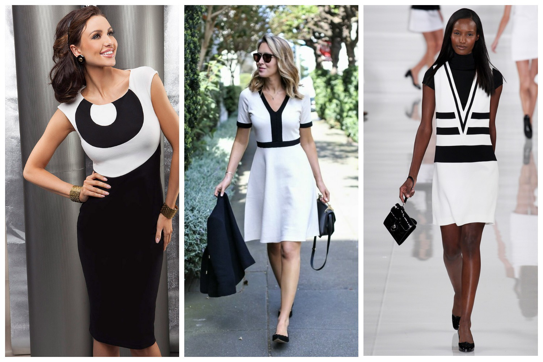 Офисное черно-белое платье