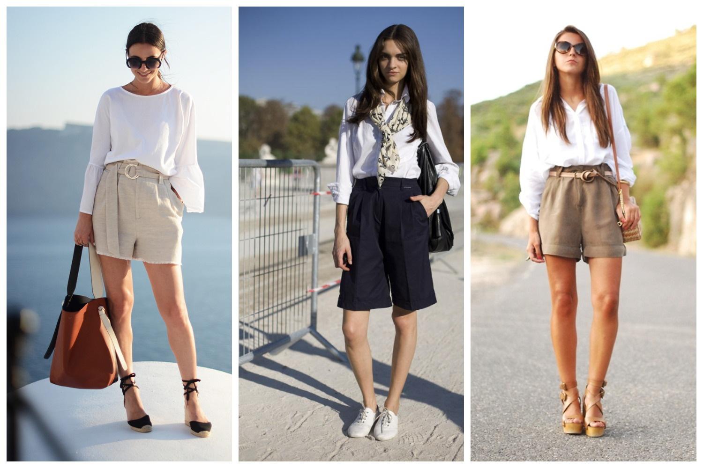 Шорты с белой лаконичной блузкой  - офисный дресс-код