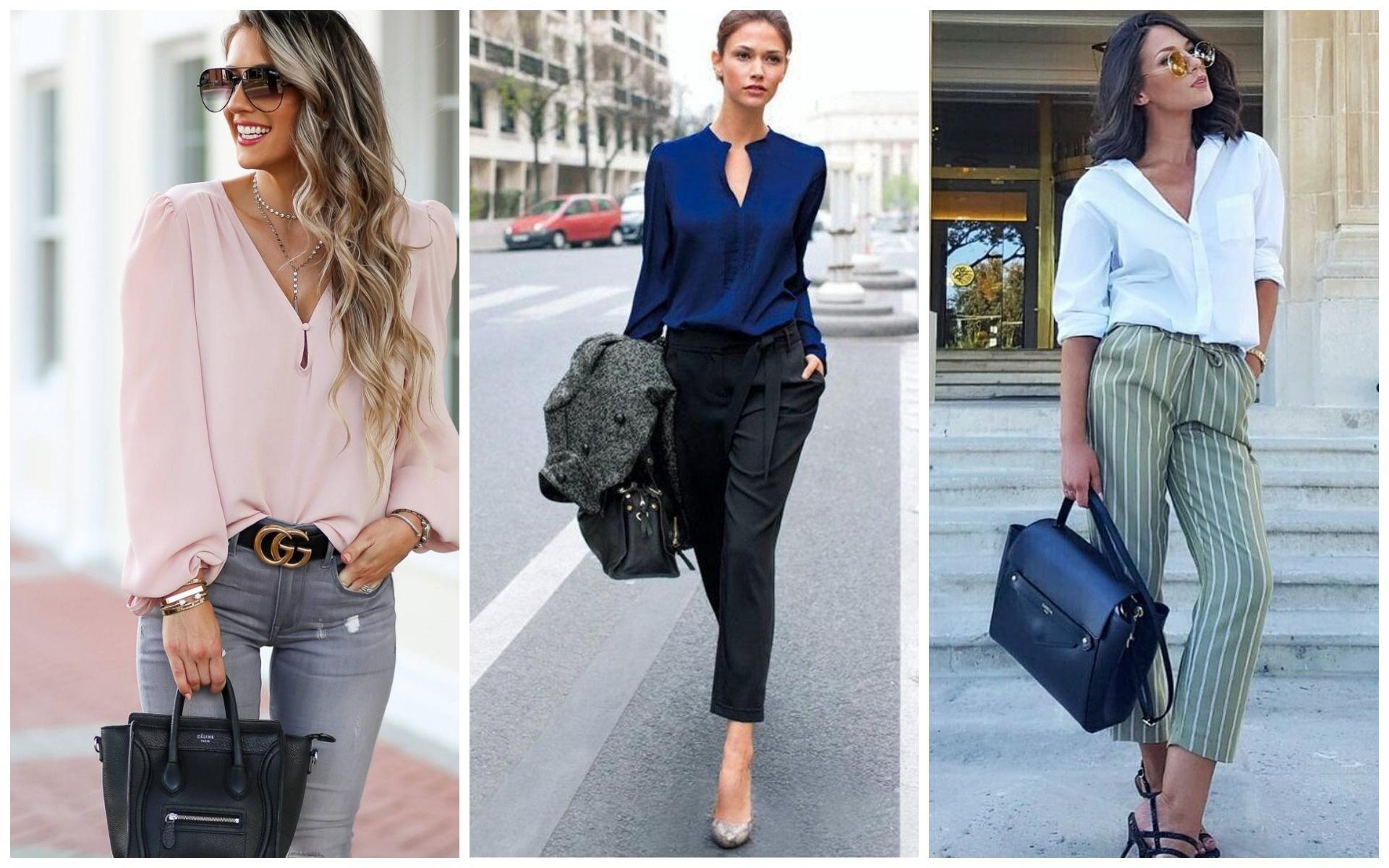 Свободная блузка в офисном стиле