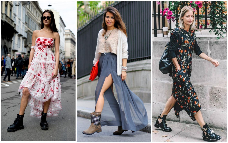 Шелковое платье (юбка) и грубые ботинки