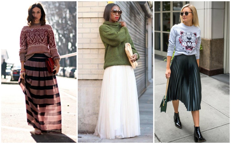 Теплый свитшот и легкая юбка