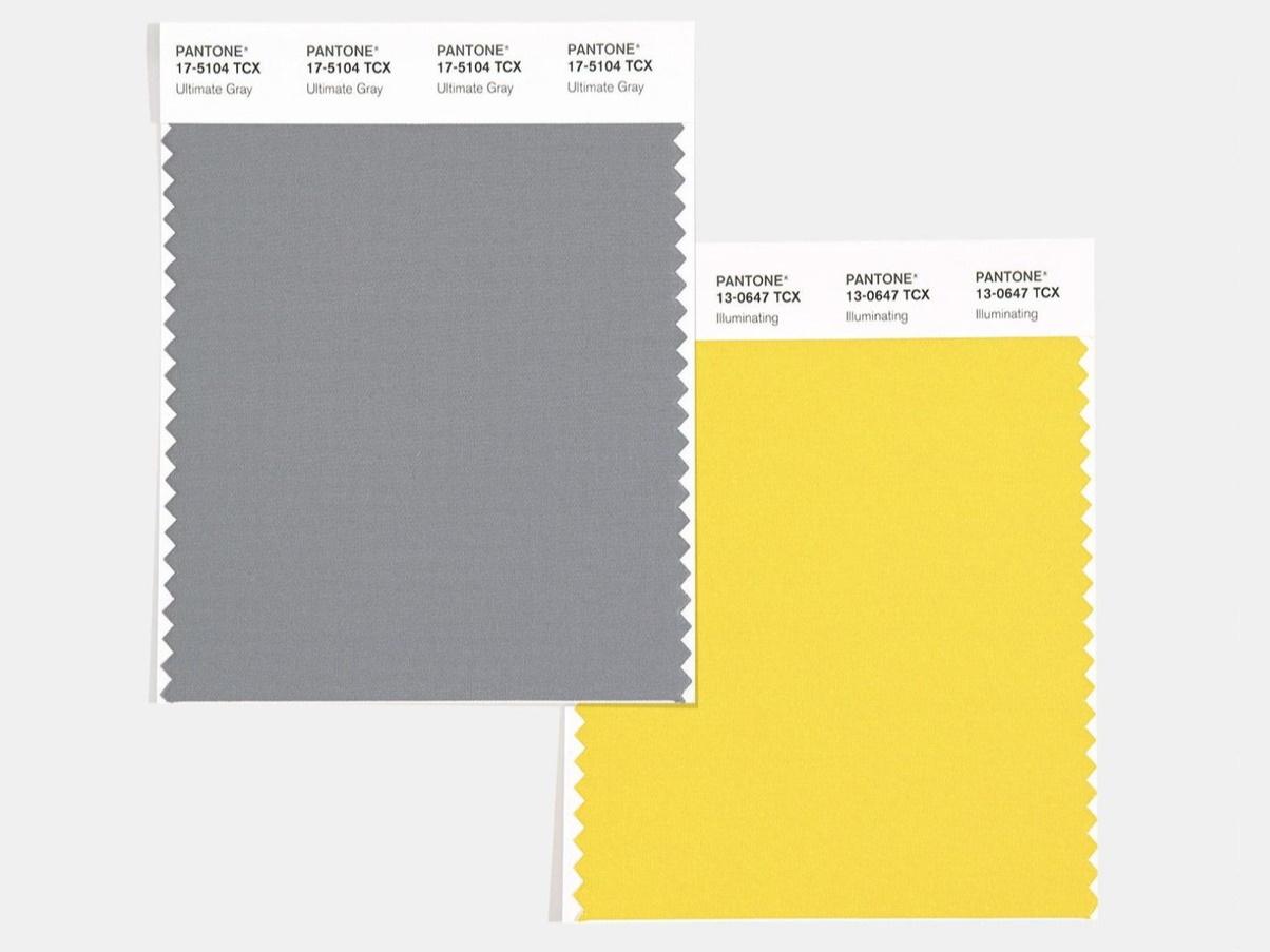 безупречный серый Ultimate Grey 17-5104 и светящийся желтый Illuminating 13-0647
