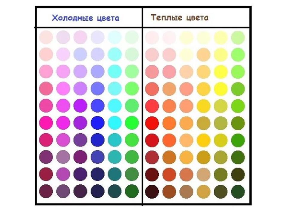 Таблица оттенков цветов