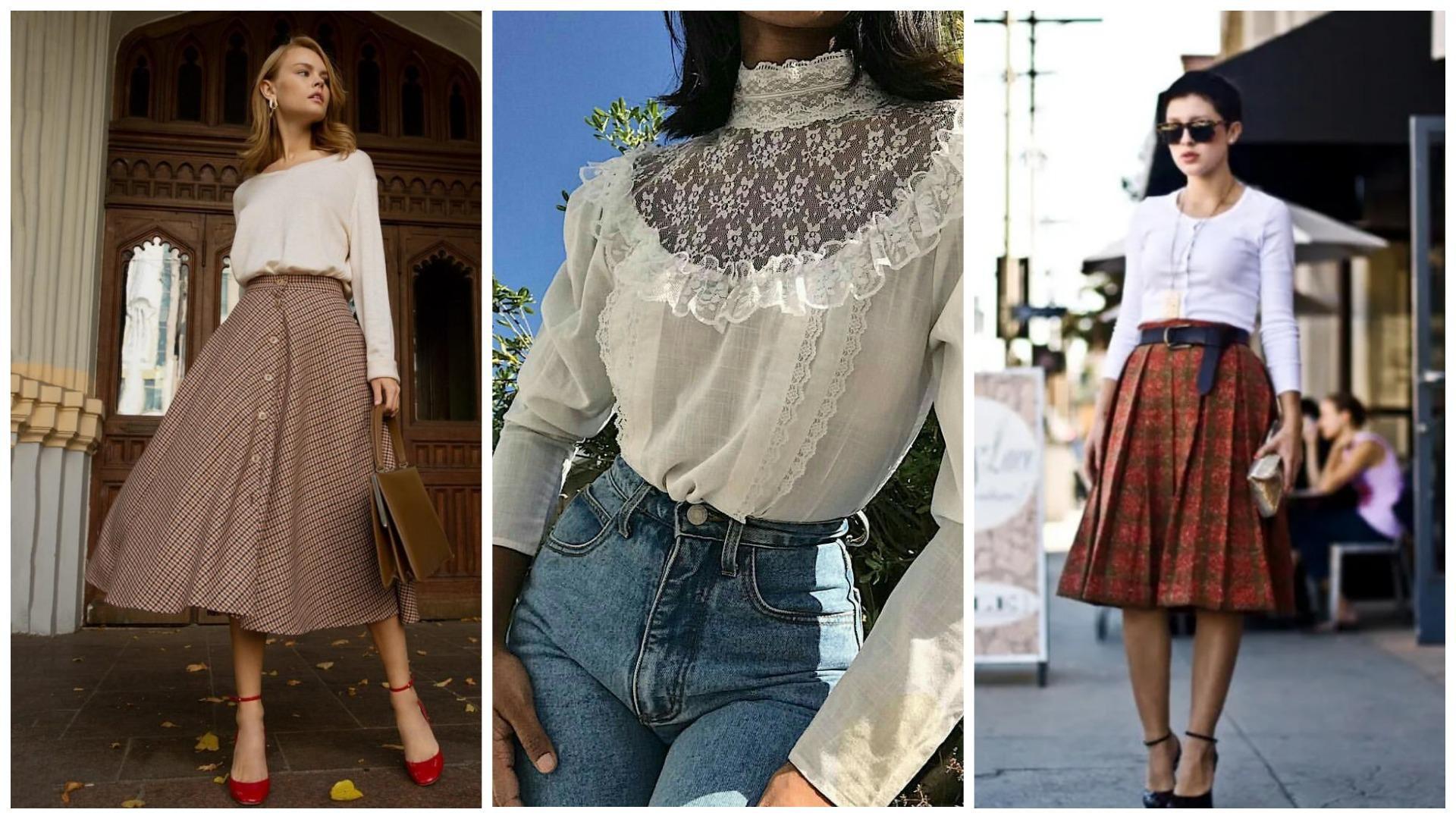 винтажная блузка с современным низом