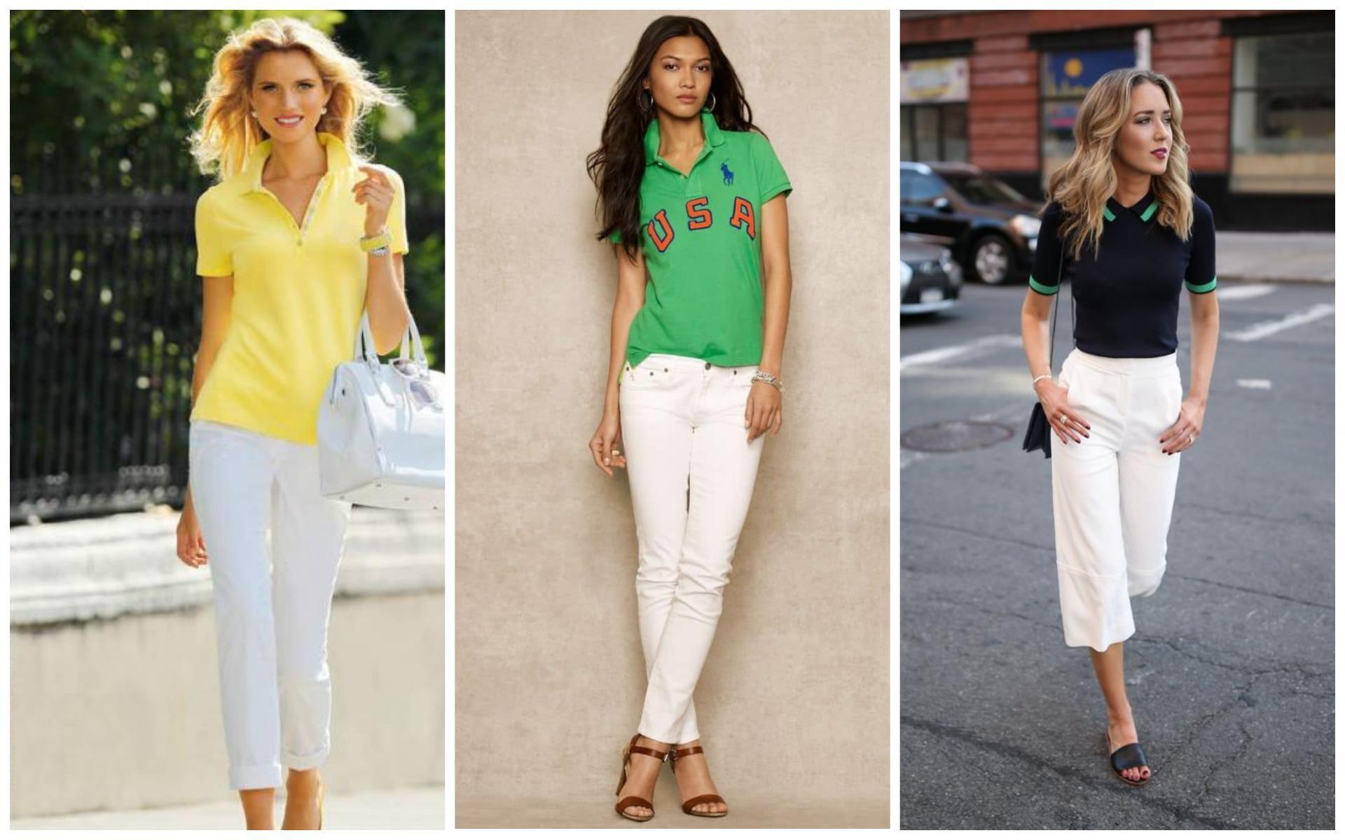 Женская футболка поло с белыми брюками