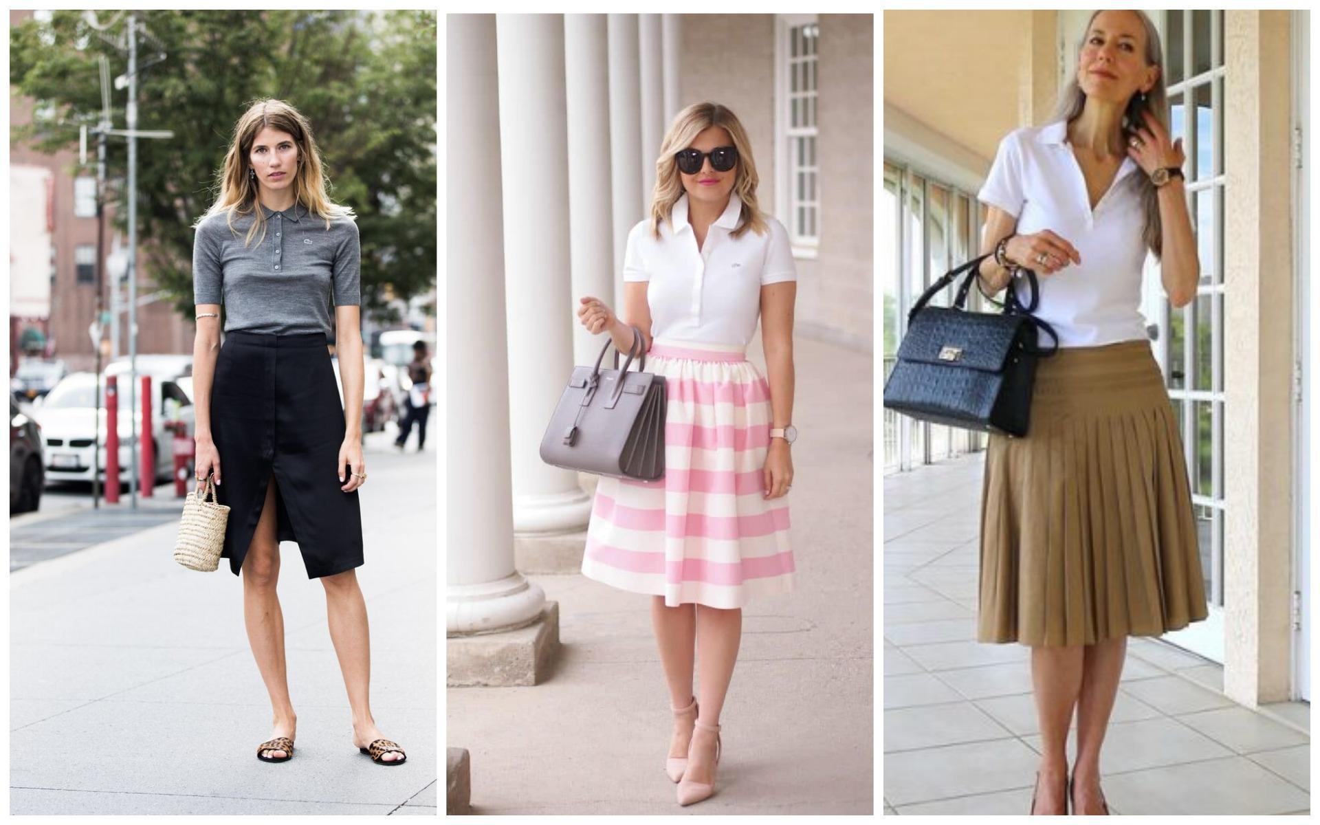 Женская футболка поло с юбками