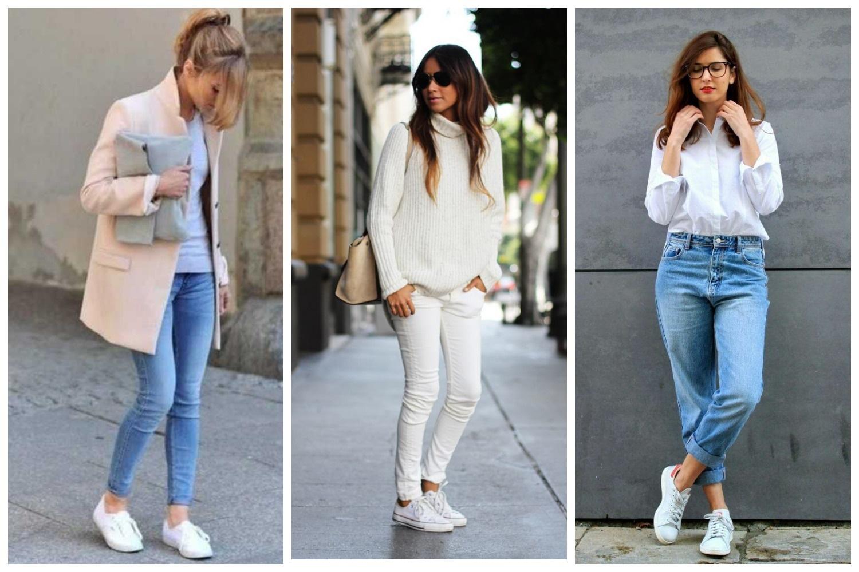 Белые кеды с брюками и джинсами