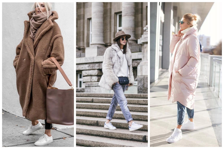 Белые кроссовки и объемное пальто