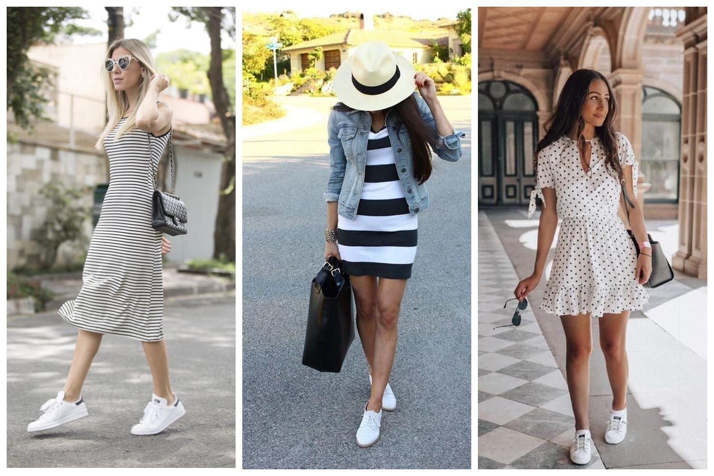 Черно-белое платье + белые кроссовки