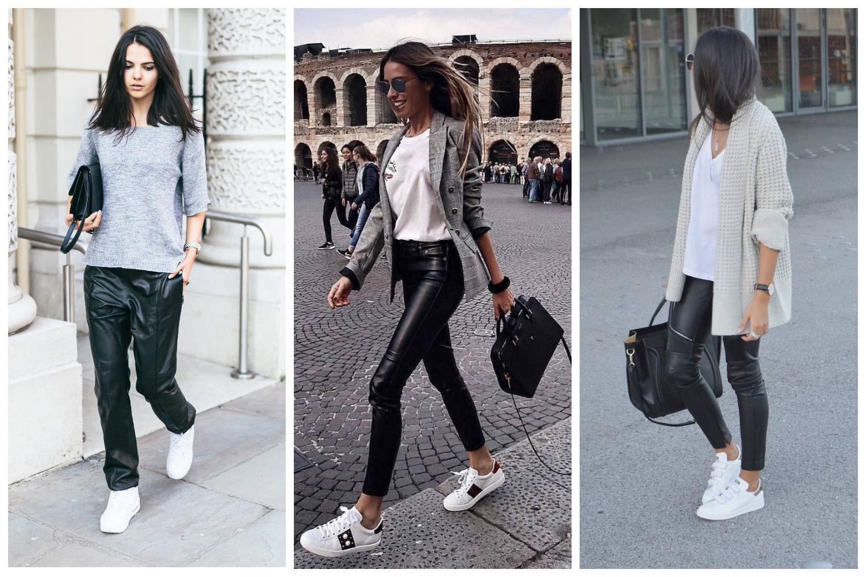Кожаные брюки+светлый верх и белые кеды