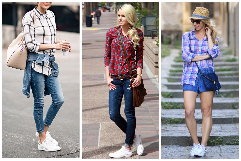 Клетчатая рубашка+шорты/джинсы+кроссовки белого цвета