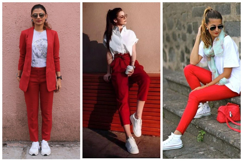 Белые кеды и красные брюки
