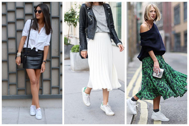 Кроссовки белого цвета с юбкой различной длины