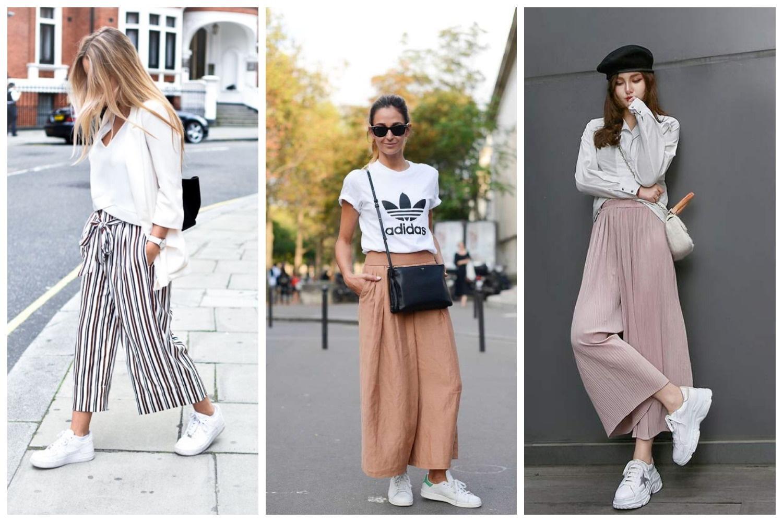 Широкие брюки и белый верх + белые кеды