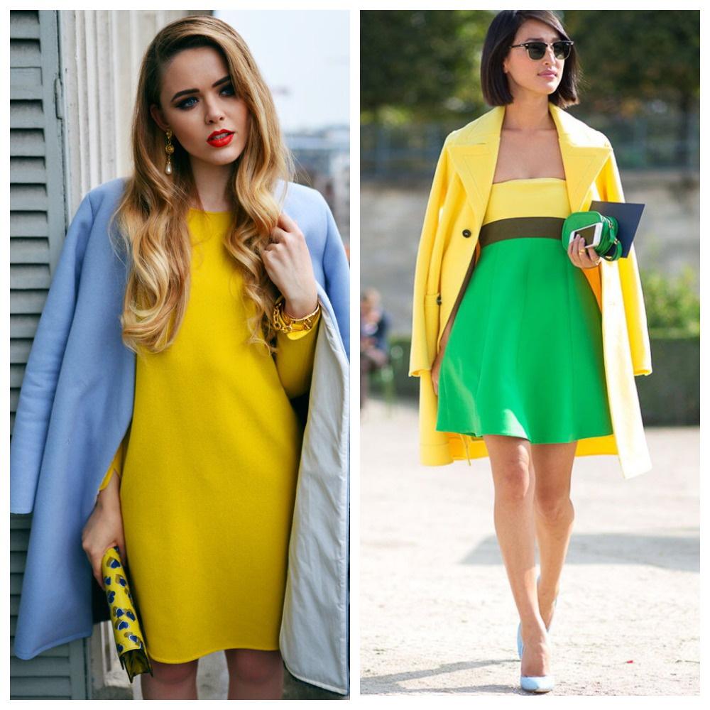 Акцент на желтым в одежде