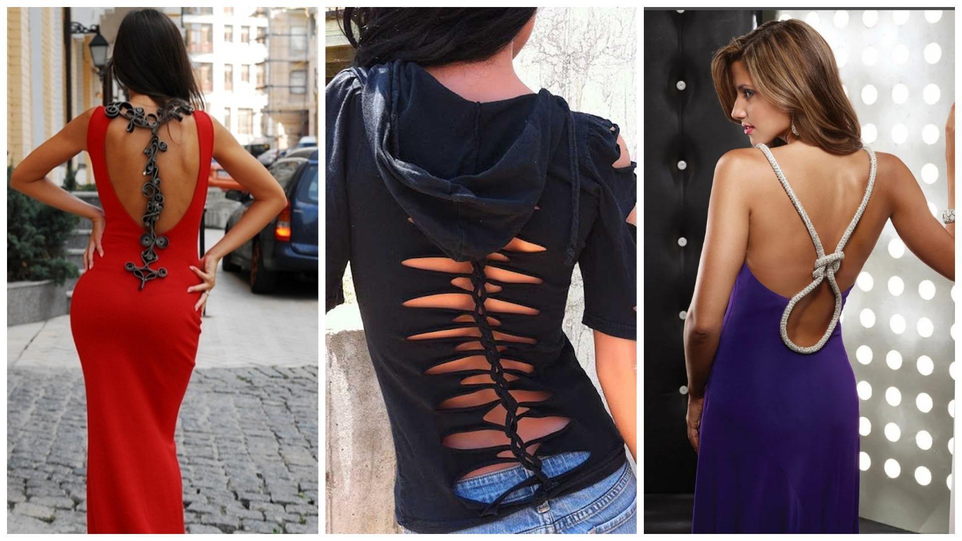 Креативные и уникальные вырезы сзади на одежде