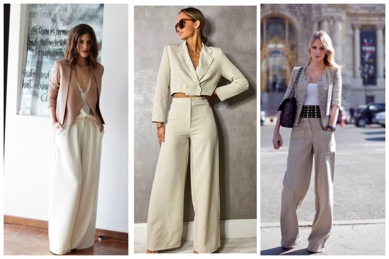 Укороченный пиджак с брюками палаццо